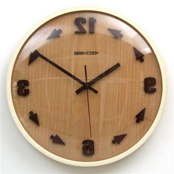 【ZARATA】GeekCook創意箭頭逆時實木壁鐘