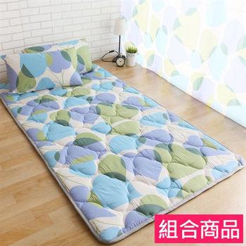 【契斯特】可愛涼感日式收納床墊居家組-單人桃心葉