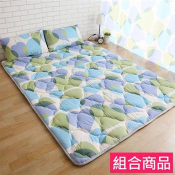 【契斯特】可愛涼感日式收納床墊居家組-雙人桃心葉