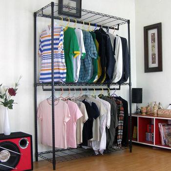 【頂堅】寬120公分-三層金屬鐵線網型(雙桿)吊衣櫥/吊衣架-鑽石黑