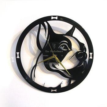 [時光旅人1888]黑膠時鐘。法國鬥牛犬