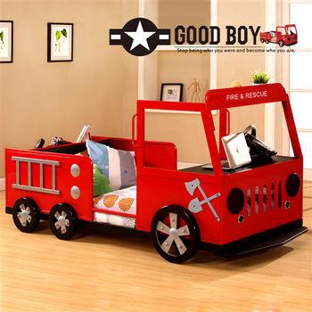 【Kids Castle】兒童城堡 閃電消防車兒童造型單人床架(含床墊 床包 枕心)