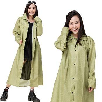【東伸】俏麗型日式大衣式雨衣-綠色點點