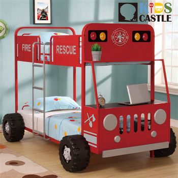【Kids Castle】兒童城堡 閃電消防車兒童造型雙層床架(含床墊 床包 枕心)