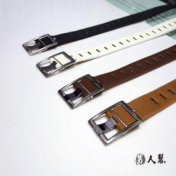 【男人幫】X0138【時尚長型洞孔金屬方型扣環皮帶】