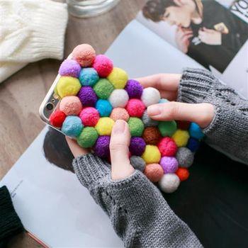 【ZARATA】韓國立體毛絨彩球Apple I6plus手機殼(彩色)