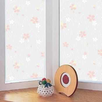 日本MEIWA節能抗UV靜電窗貼 (日式小花) 92x100公分