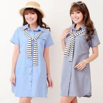 【時尚媽咪】韓版條紋連帽翻領襯衫洋裝(共二色)