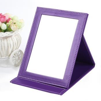 【幸福揚邑】時尚皮革質感隨身摺疊彩妝美妝化妝鏡/桌鏡 珍珠時尚紫色
