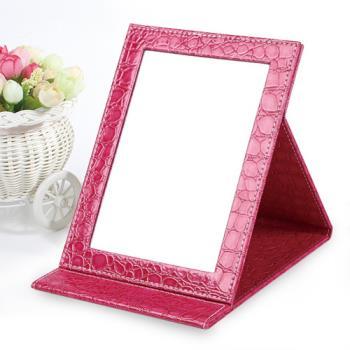 【幸福揚邑】時尚皮革質感隨身摺疊彩妝美妝化妝鏡/桌鏡-鱷皮紋玫色