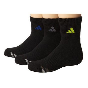 【Adidas】2016男女學童黑色運動短襪3入組(預購)