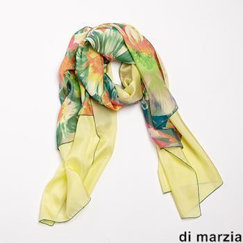 di marzia藝術印花雙面蠶絲圍巾(黃)