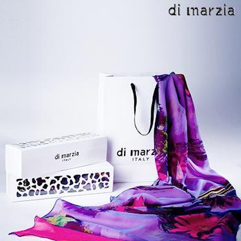 di marzia藝術印花雙面蠶絲圍巾(藍)