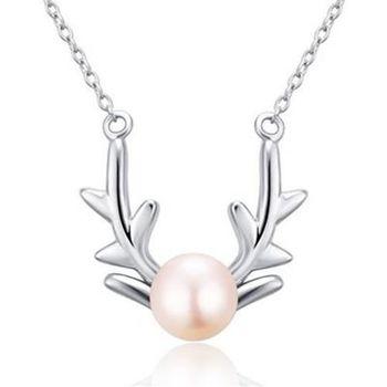 【米蘭精品】925純銀珍珠項鍊時尚簡約百搭鹿角銀飾