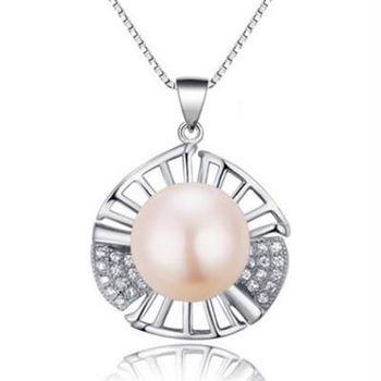 【米蘭精品】925純銀珍珠項鍊精美鑲鑽扇貝時尚銀飾