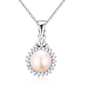 【米蘭精品】925純銀珍珠項鍊精選華麗鑲鑽銀飾