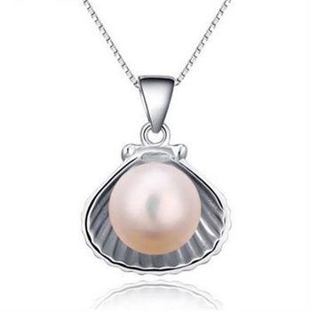 【米蘭精品】925純銀珍珠項鍊獨特時尚貝殼銀飾