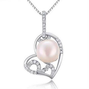【米蘭精品】925純銀珍珠項鍊精美鑲鑽心形銀飾