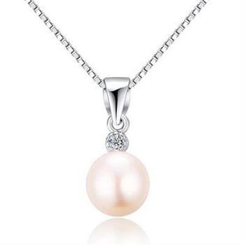 【米蘭精品】925純銀珍珠項鍊時尚簡約鑲鑽銀飾