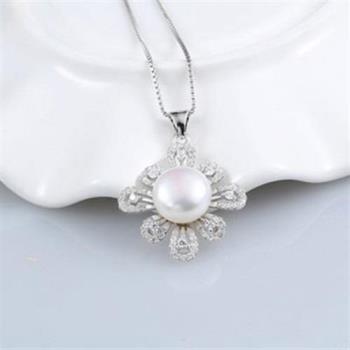 【米蘭精品】925純銀珍珠項鍊精美鑲鑽太陽花銀飾