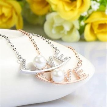 【米蘭精品】925純銀珍珠項鍊精選LOVE鑲鑽銀飾2色