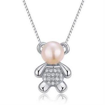 【米蘭精品】925純銀珍珠項鍊韓版鑲鑽小熊可愛銀飾