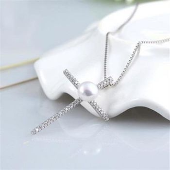 【米蘭精品】925純銀珍珠項鍊簡約十字架鑲鑽銀飾