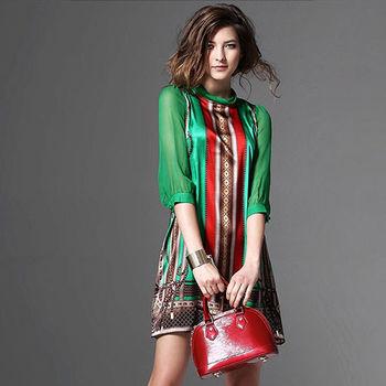 【A3】米蘭風情-羅馬圖騰蠶絲洋裝
