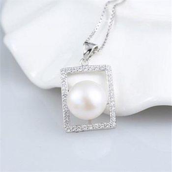 【米蘭精品】925純銀珍珠項鍊方框鑲鑽時尚銀飾