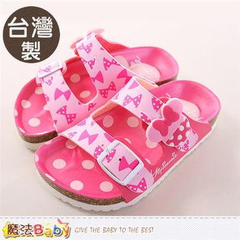 魔法Baby 女童鞋 台灣製迪士尼米妮正版涼拖鞋~sh9668