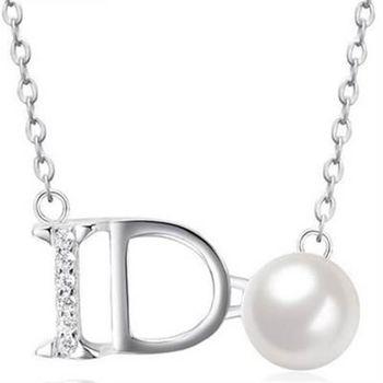 【米蘭精品】925純銀項鍊珍珠吊墜英文字母生日銀飾