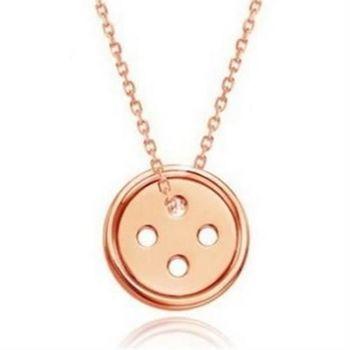 【米蘭精品】925純銀項鍊鈕扣吊墜幸福精緻氣質銀飾