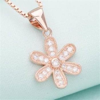 【米蘭精品】925純銀項鍊太陽花吊墜鑲鑽簡約精緻銀飾