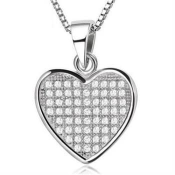 【米蘭精品】925純銀項鍊鑲鑽吊墜愛心品味簡單銀飾