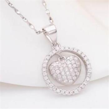 【米蘭精品】925純銀項鍊鑲鑽吊墜愛心圓形品味優雅銀飾