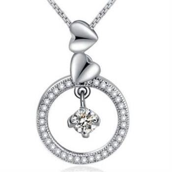 【米蘭精品】925純銀項鍊鑲鑽吊墜圓形氣質優雅銀飾