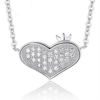 【米蘭精品】925純銀項鍊皇冠吊墜愛心情侶送禮必備銀飾