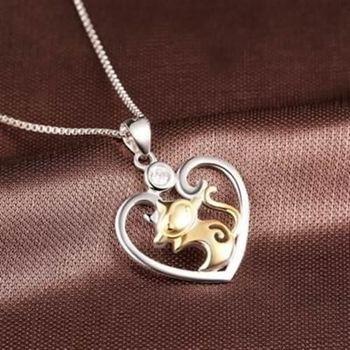 【米蘭精品】925純銀項鍊猴子吊墜心型優雅大方銀飾