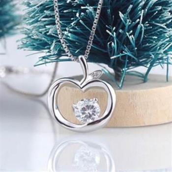 【米蘭精品】925純銀項鍊蘋果吊墜鑲鑽典雅簡約銀飾