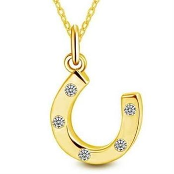 【米蘭精品】925純銀項鍊馬蹄鐵吊墜精美動物百搭金色銀飾