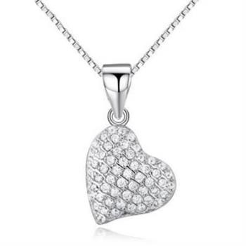 【米蘭精品】925純銀項鍊鑲鑽吊墜優雅簡約精美心型銀飾