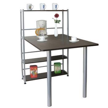 【Dr.DIY】80x120/公分-4層置物架型餐桌(深胡桃木色)