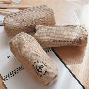 【ZARATA】韓國田園風格帆棉麻布藝收納文具筆袋