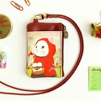 【ZARATA】Jetoy甜蜜貓多用途頸繩零錢包_Red hood
