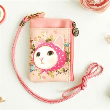 【ZARATA】Jetoy甜蜜貓多用途頸繩零錢包_Pink hood