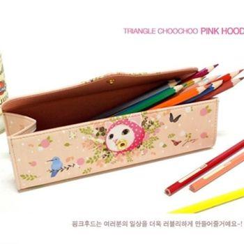 【ZARATA】甜蜜貓金三角亮眼筆盒_Pink hood