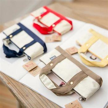 【ZARATA】時尚簡雅撞色帆布手提式筆袋化妝袋
