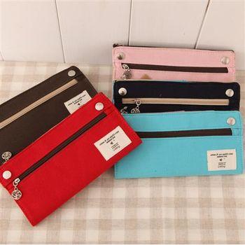【ZARATA】簡約系列素色帆布筆袋收納包