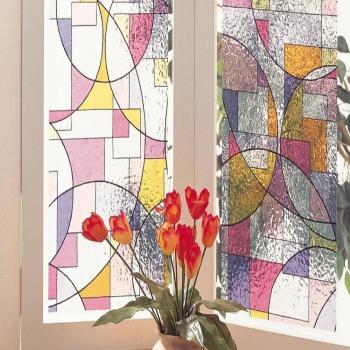 日本MEIWA節能抗UV靜電3D窗貼 (抽象幾何) 46x100公分
