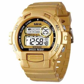 JAGA 捷卡  M886-L blink 陽光炫麗多功能運動電子錶-金